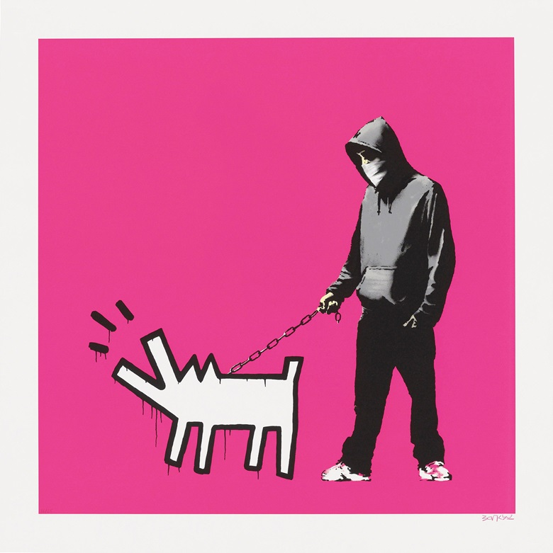 Banksy (b. 1975), Choose Your Weapon (Magenta), 2010. Screenprint in colours, signed. Image 600 x 600 mm, sheet 700 x 700 mm. Estimate £30,000–50,000. Offered in Banksy I cant believe you Morons actually buy this sht, 11-24 September, Online. Artwork Courtesy of Pest Control Office