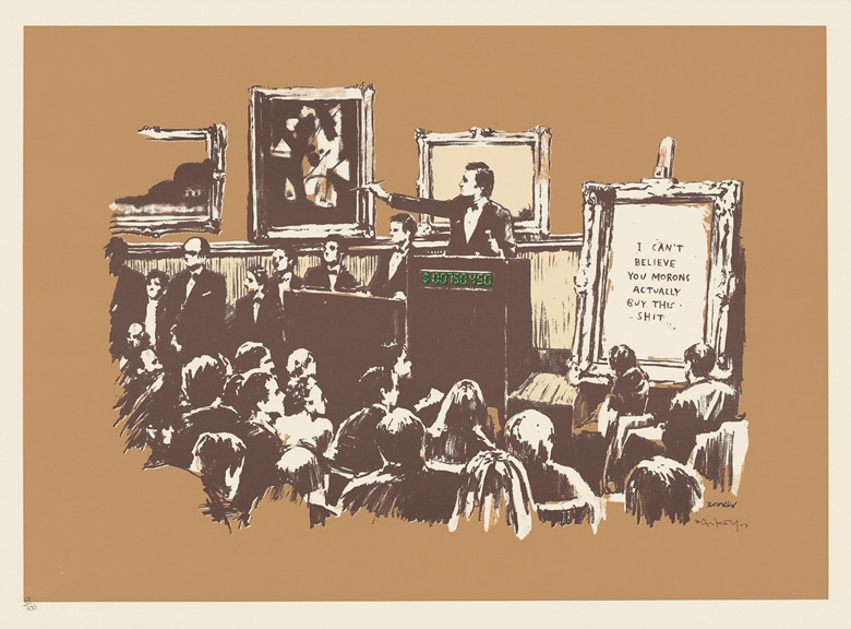 Banksy (b. 1975), Morons Sepia, 2007. Screenprint in colours, signed. Image 499 x 710 mm, sheet 565 x 760 mm. Estimate £12,000-18,000. Offered in Banksy I cant believe you Morons actually buy this sht, 11-24 September, Online. Artwork Courtesy of Pest Control Office