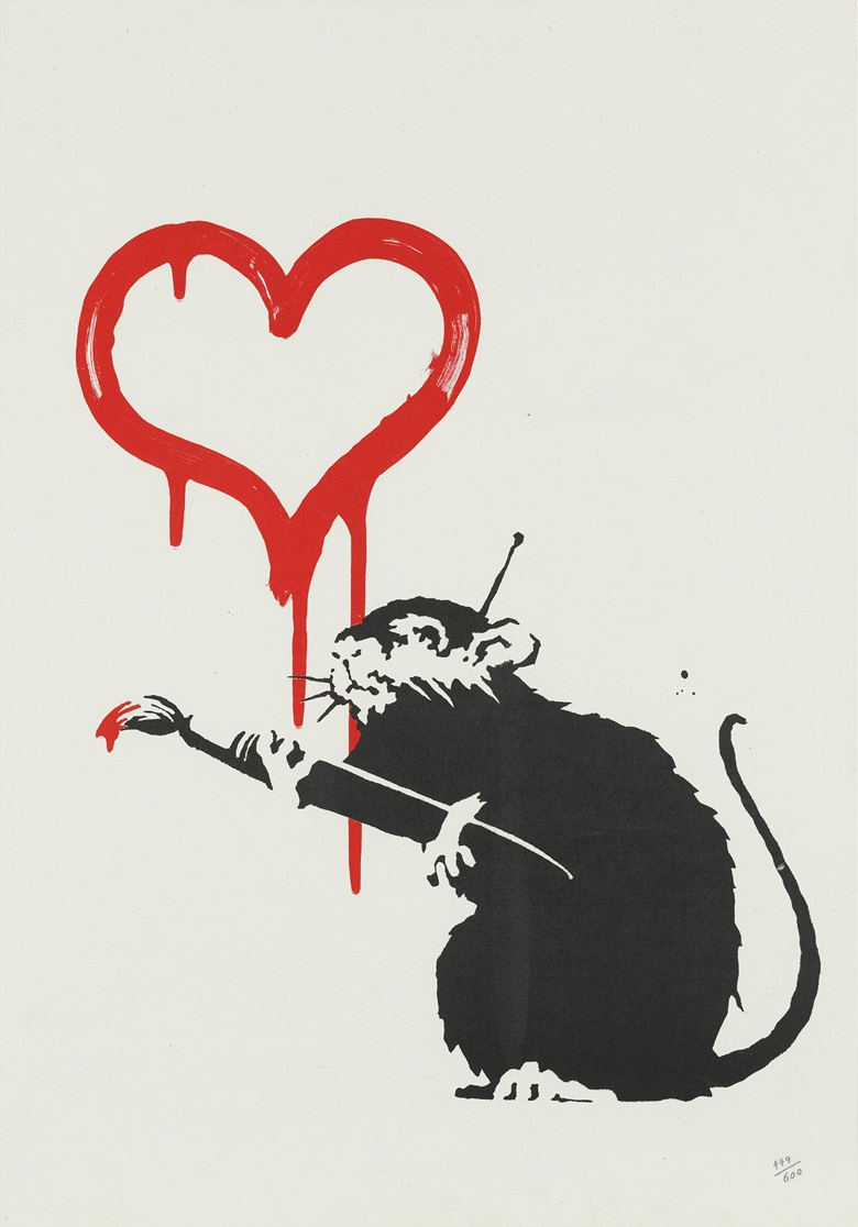 Banksy (b. 1975), Love Rat, 2004. Screenprint in colours. Image 355 x 300 mm, sheet 492 x 343 mm. Estimate £10,000-15,000. Offered in Banksy I cant believe you Morons actually buy this sht, 11-24 September, Online. Artwork Courtesy of Pest Control Office