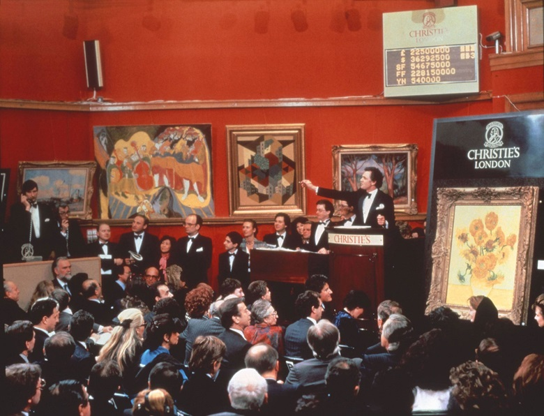 Van Gogh's Still Life Vase with Fifteen Sunflowers goes to auction at Christie's on 30 March 1987. The painting sold for £22,500,000, the record price for any artwork at the time of the sale