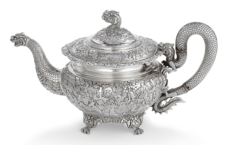 A Chinese export silver teapot, mark of Khecheong, Canton, circa 1840. 12¼ in (31.1 cm) long. Estimate $3,000-5,000. Offered in Chinese and Japanese Export Silver Online Property from the Collection of Myrna and Bernard Posner, Online, 15-22 August 2019