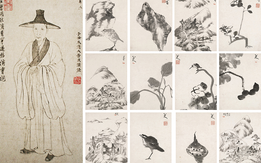 From left detail of a portrait of Bada Shanren by Huang An Pin, 1674, ink on paper. Photo The Picture Art Collection  Alamy Stock Photo. Bada Shanren (1626-1705), Landscapes, Flower, Birds