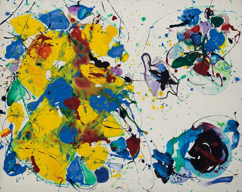 Sam Francis (1923–1994), Erotic arabesque, painted in 1987. Acrylic on canvas. 48 x 60 in (121.8 x 152.3 cm). Offered in the Post-War and Contemporary Art Day Auction on 5 October at Christie's in London