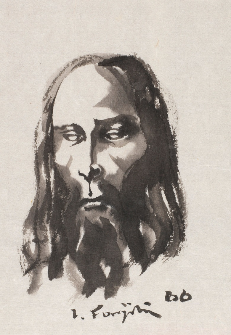 Léonard Tsuguharu Foujita (1886-1968), Untitled (Christ), 1966. Ink wash painting on paper. 25.1 x 17.3 cm (9.9 x 6.8 in). Estimate $2,000-3,000. Offered in Contemporary Art Asia Including a Collection of Works by Léonard Tsuguharu Foujita, Online 18-25 September