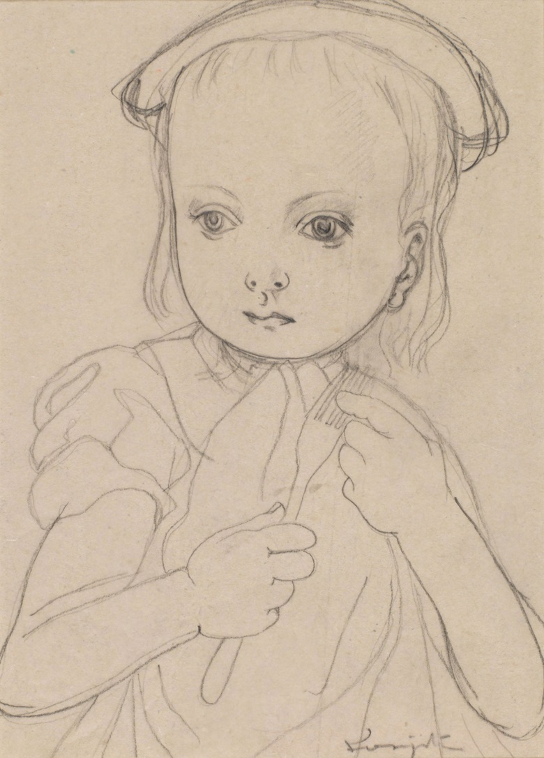 Léonard Tsuguharu Foujita (1886-1968), Untitled (Fillette à la fourchette), 1954. Lead on tracing paper. 21 x 15 cm (8.3 x 5.9 in). Estimate $3,000-4,000. Offered in Contemporary Art Asia Including a Collection of Works by Léonard Tsuguharu Foujita, Online 18-25 September