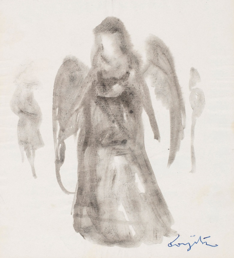 Léonard Tsuguharu Foujita (1886-1968), Untitled (L'ange). Ink wash painting on paper. 14.5 x 13.3 cm (5.7 x 5.2 in). Estimate $600-800. Offered in Contemporary Art Asia Including a Collection of Works by Léonard Tsuguharu Foujita, Online 18-25 September