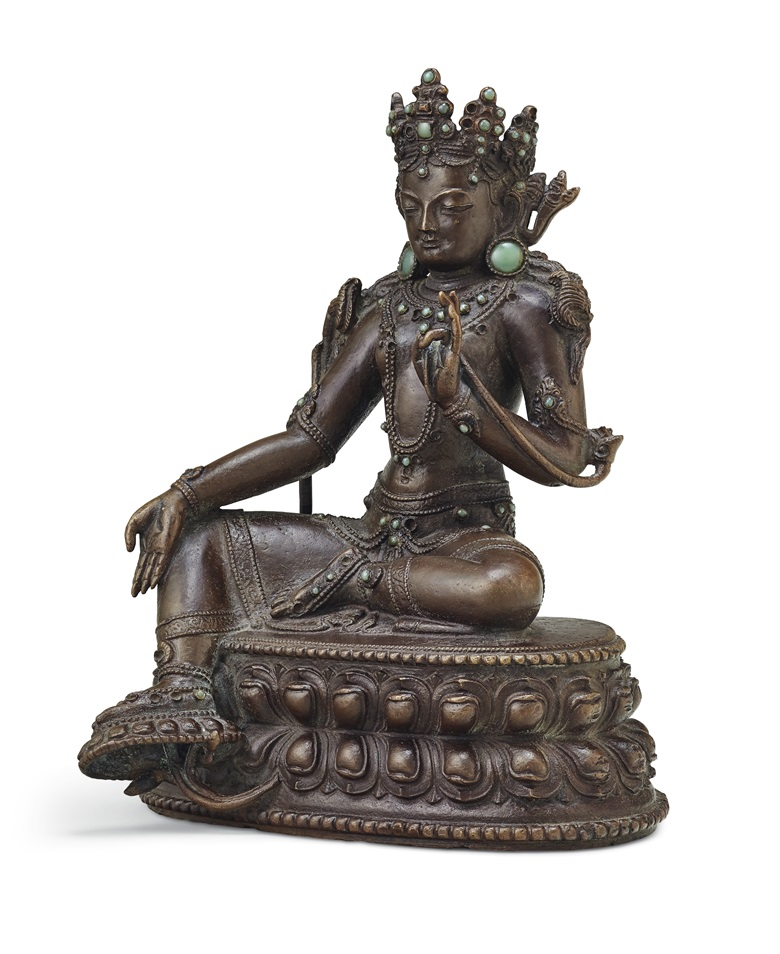A rare bronze figure of Green Tara. Tibet or China, Yuan Dynasty, 14th century. 6⅝ in. (16.8 cm.) high. Estimate $80,000-120,000. Offered in Indian, Himalayan & Southeast Asian Works of Art on 11 September at Christies in New York