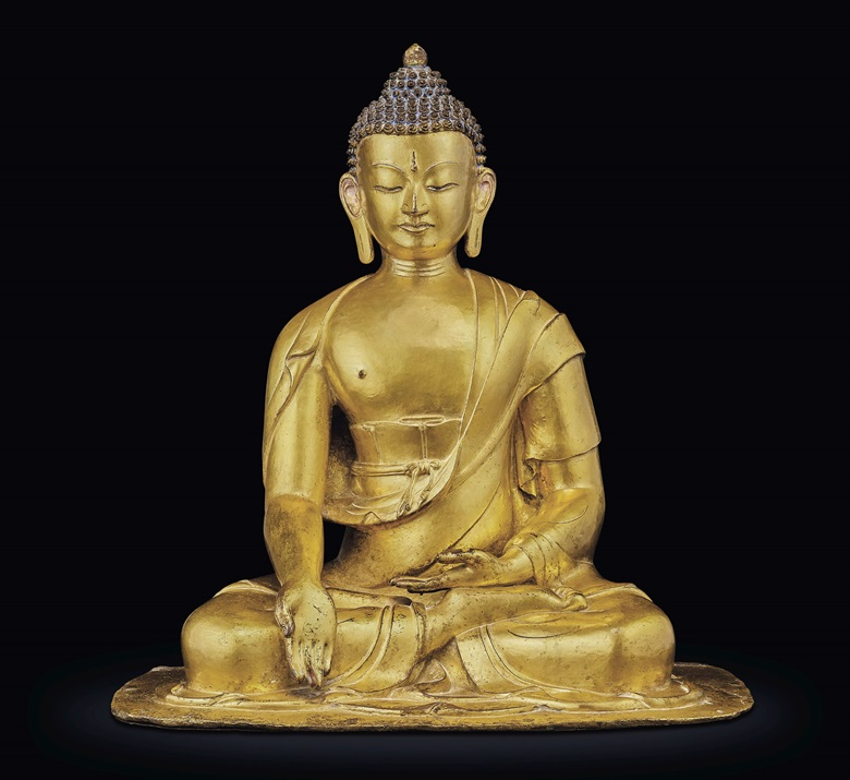 A rare gilt-bronze figure of Buddha Ratnasambhava, Nepal, 17th-18th century. Height 46 cm (18⅛ in). Estimate $400,000-600,000. Offered in Indian, Himalayan & Southeast Asian Works of Art on 11 September 2019 at Christie's in New York