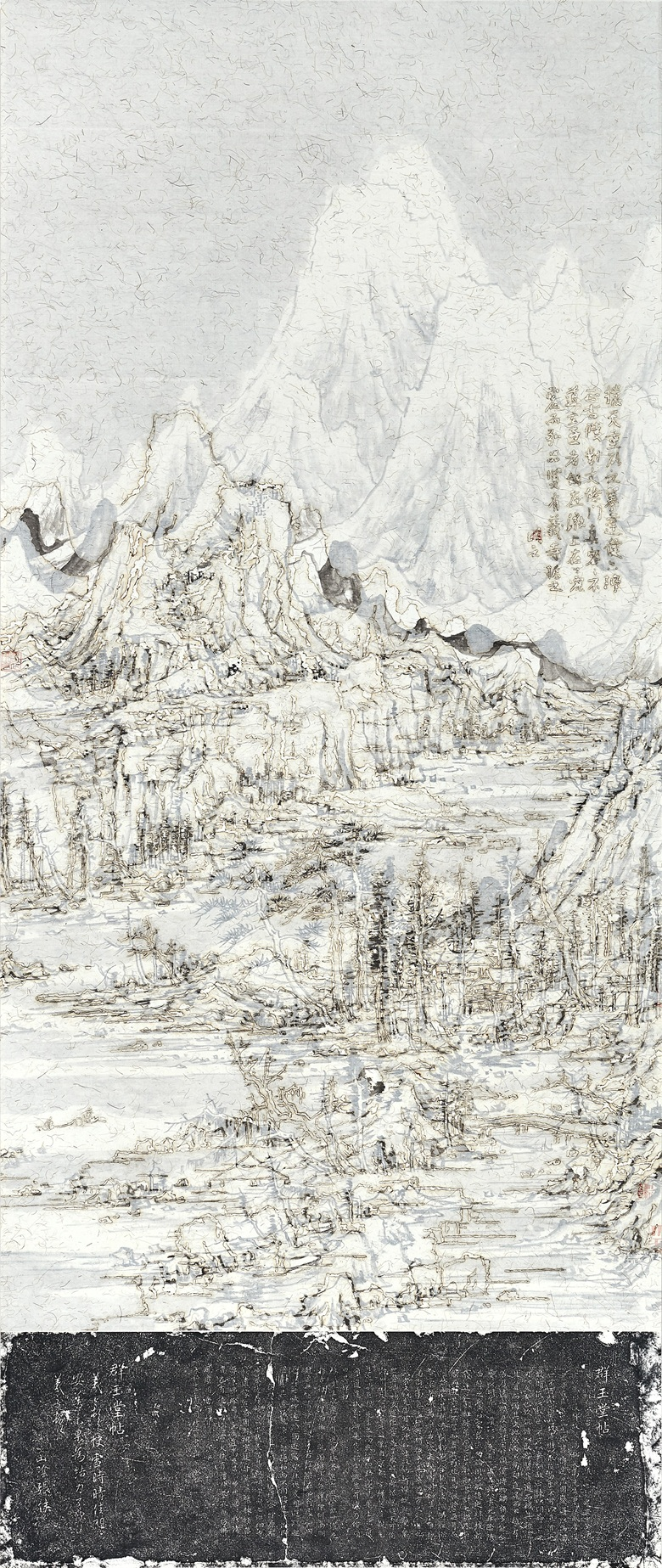 Wang Tiande (b. 1960), Tranquil Vista, 2015. Ink and mixed media on paper. 84 × 35¼ in (213.5 × 89.5  cm). Sold for CNY576,000 on 21 September 2019 at Christie's in Shanghai