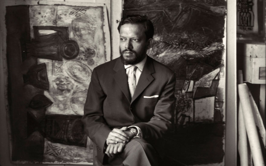Francis Newton Souza, 1961 (detail). 2¼ in square film negative. Photo Ida Kar. Photo © National Portrait Gallery, London. Artworks © Estate of F.N. Souza. All rights reserved,