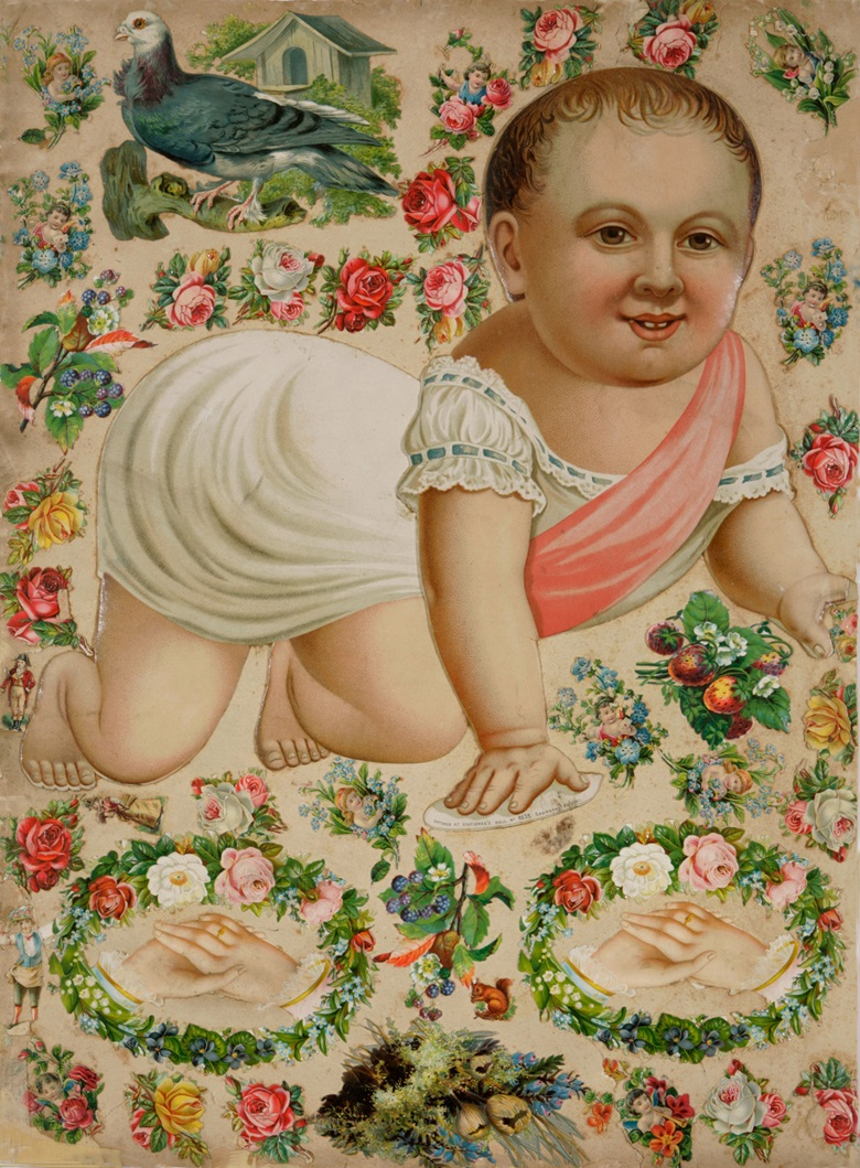 Anonymous, Baby, circa 1890. Collage. 53 x 39 cm. Photography England & Co, London © England & Co, London. On view at Cut and Paste 400 Years of Collage, until 27 October 2019. Scottish Gallery of Modern Art