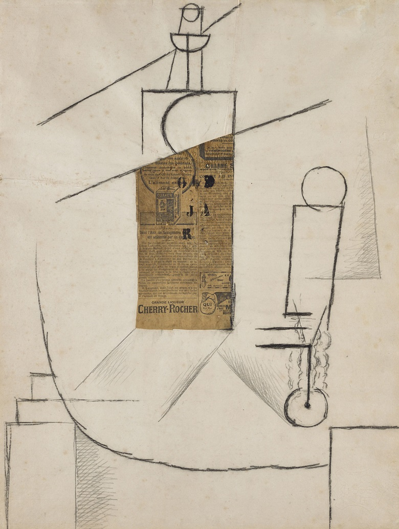Pablo Picasso (1881-1973), Bouteille et Verre sur un Table (Bottle and Glass on a Table), 1912. Charcoal and collage on paper. 61.6 x 47 cm (framed 88.6 x 74.5 cm). National Galleries of Scotland, Purchased (Henry and Sula Walton fund) 2015. On view at Cut and Paste 400 Years of Collage, until 27 October 2019. Scottish Gallery of Modern Art