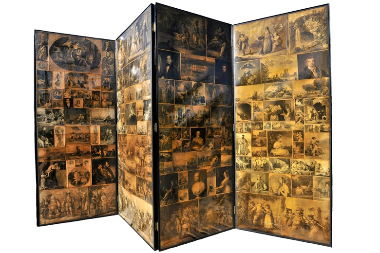 William Macready (1793-1873) and Charles Dickens (1812- 1870), Folding Scrap-work Screen, c. 1860. Four-leaf, folding collaged screen featuring approximately 400 engravings on folding screen (both sides), 202 x 77.5 cm each panel (202 x 310 cm fully stretched); about 280 cm as presented. Friends of Sherborne House. Photography by Josie Elias. On view at Cut and Paste 400 Years of Collage,