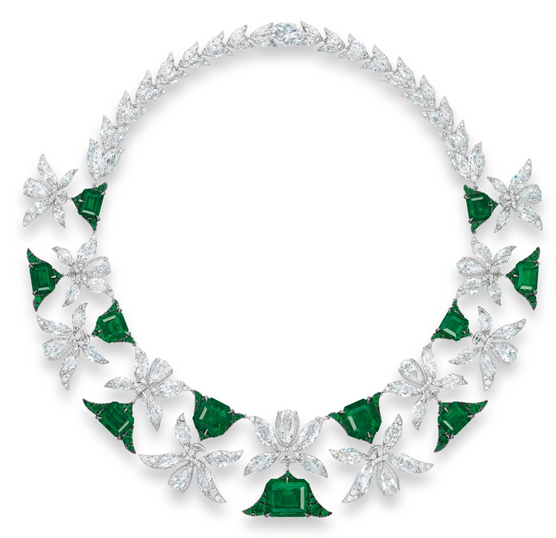 A magnificent emerald and diamond 'Palmette' necklace by Edmond Chin for the House of Boghossian. Sold for HK$46,460,000 on 30 May 2017 at Christie's in Hong Kong