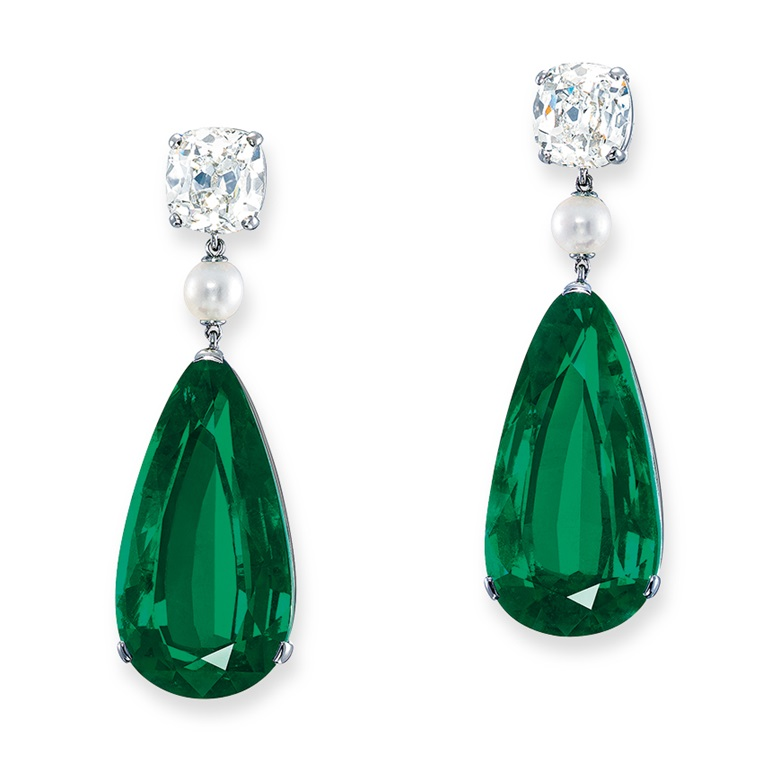 Superb emerald, diamond and pearl earrings. Sold for HK$34,925,000 on 28 May 2019 at Christie's in Hong Kong