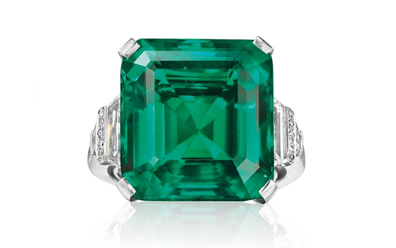 The Rockefeller Emerald. A rare and historic emerald and diamond ring by Raymond Yard. Sold for $5,511,500 on 20 June 2017 at Christie's in New York