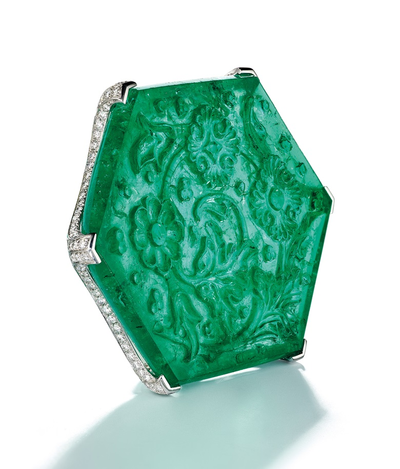 'The Taj Mahal Emerald' carved emerald and diamond brooch by Cartier. Sold for $1,815,000 on 19 June 2019 at Christie's in New York