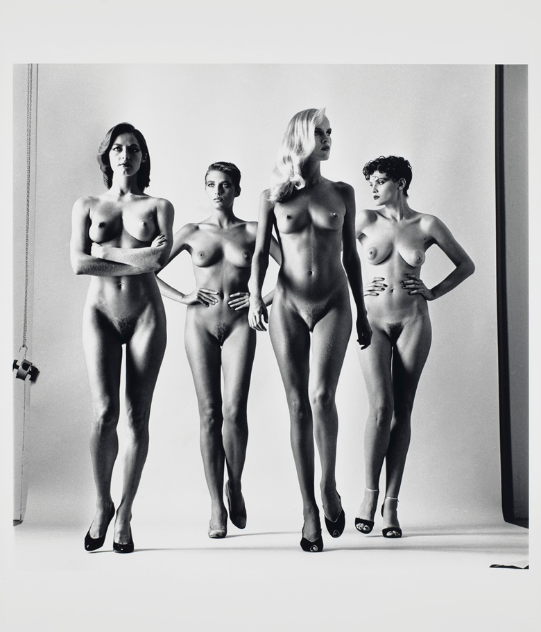 Helmut Newton (1920-2004), Sie Kommen, Dressed and Naked, Paris, 1981. Two gelatin silver prints. Each 23⅞ x 19⅞ in (60.6 x 50.4 cm). Estimate $150,000-250,000. Offered in Photographs on 2 October 2019 at Christie's in New York