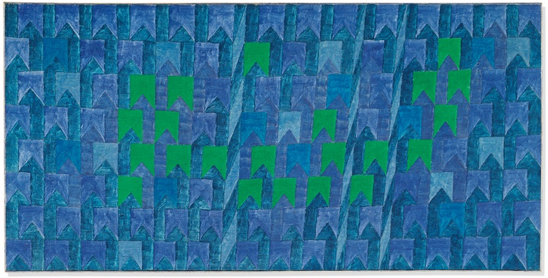 Alfredo Volpi (1896-1988), Untitled (Bandeirinhas com Mastros no Azul), circa 1960s. Tempera on canvas. 28⅜ x 56¾ in (72 x 144.1cm). Estimate £300,000-500,000. Offered in the Post-War and Contemporary Art Evening Auction on 4 October at Christie's in London