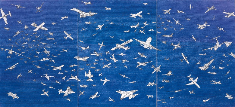 Alighiero Boetti (1940-1994), Aerei, 1984. Blue ballpoint on paper laid down on canvas, in three elements. Overall 27⅝ x 59 in (70 x 150 cm). Estimate £350,000-500,000. Offered in Thinking Italian on 4 October 2019 at Christie's in London © Alighiero Boetti, DACS 2019