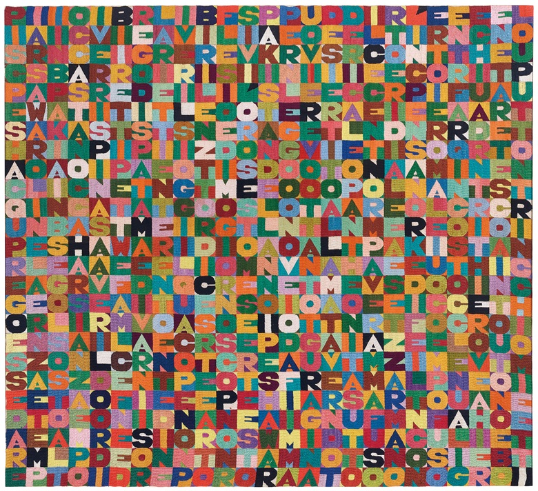 Alighiero Boetti (1940-1994), Untitled, 1988. Embroidery on canvas. 41⅜ x 45¼ in (105 x 115 cm). Estimate £250,000-350,000. Offered in Thinking Italian on 4 October 2019 at Christie's in London © Alighiero Boetti, DACS 2019