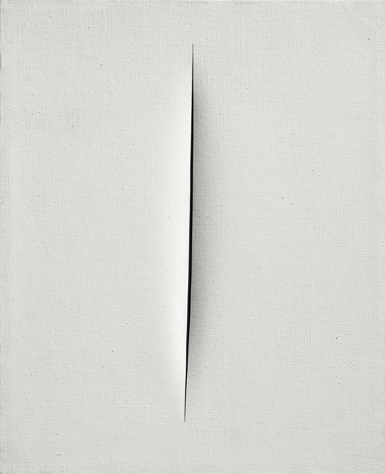 Lucio Fontana (1899-1968), Concetto spaziale, Attesa, 1964. Waterpaint on canvas. 24⅛ x 19⅝ in (61.3 x 50 cm). Estimate £700,000-1,000,000. Offered in Thinking Italian on 4 October 2019 at Christie's in London. Artwork © Lucio FontanaSIAEDACS, London 2019