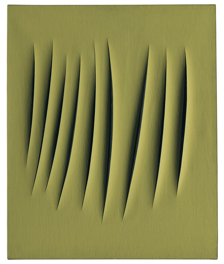 Lucio Fontana (1899-1968), Concetto spaziale, Attese, 1962. Waterpaint on canvas. 28¾ x 23⅝ in (73 x 60 cm). Estimate £600,000-800,000. Offered in Thinking Italian on 4 October 2019 at Christie's in London. © Lucio FontanaSIAEDACS, London 2019