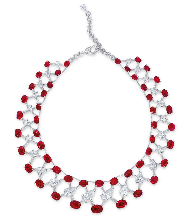 A magnificent ruby and diamond necklace by Etcetera. Sold for HK$100,360,000 on 2 June 2015 at Christie's in Hong Kong