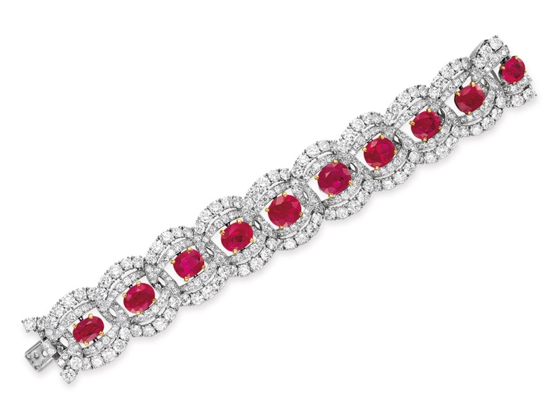 A ruby and diamond bracelet by Cartier. Sold for $842,500 on 13 December 2011 at Christie's in New York