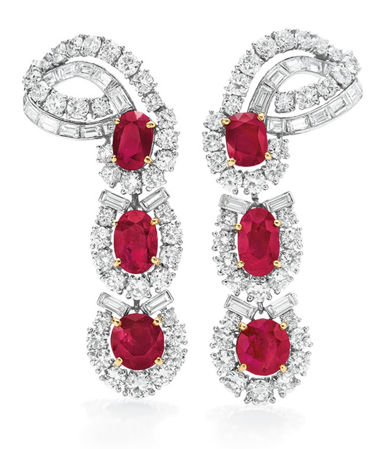 A pair of ruby and diamond ear pendants by Cartier. Sold for $782,500 on 13 December 2011 at Christie's in New York