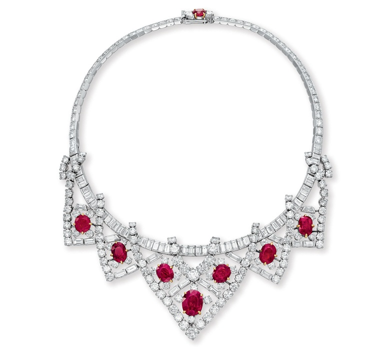 A ruby and diamond necklace by Cartier. Sold for $3,778,500 on 13 December 2011 at Christie's in New York