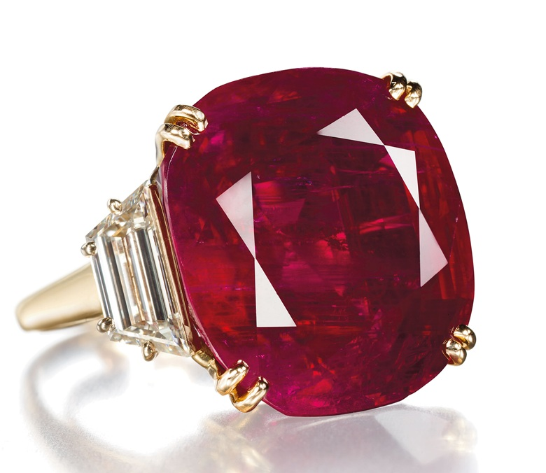 A ruby and diamond ring by Chaumet. Sold for CHF 6,243,000 on 14 May 2012 at Christie's in Geneva