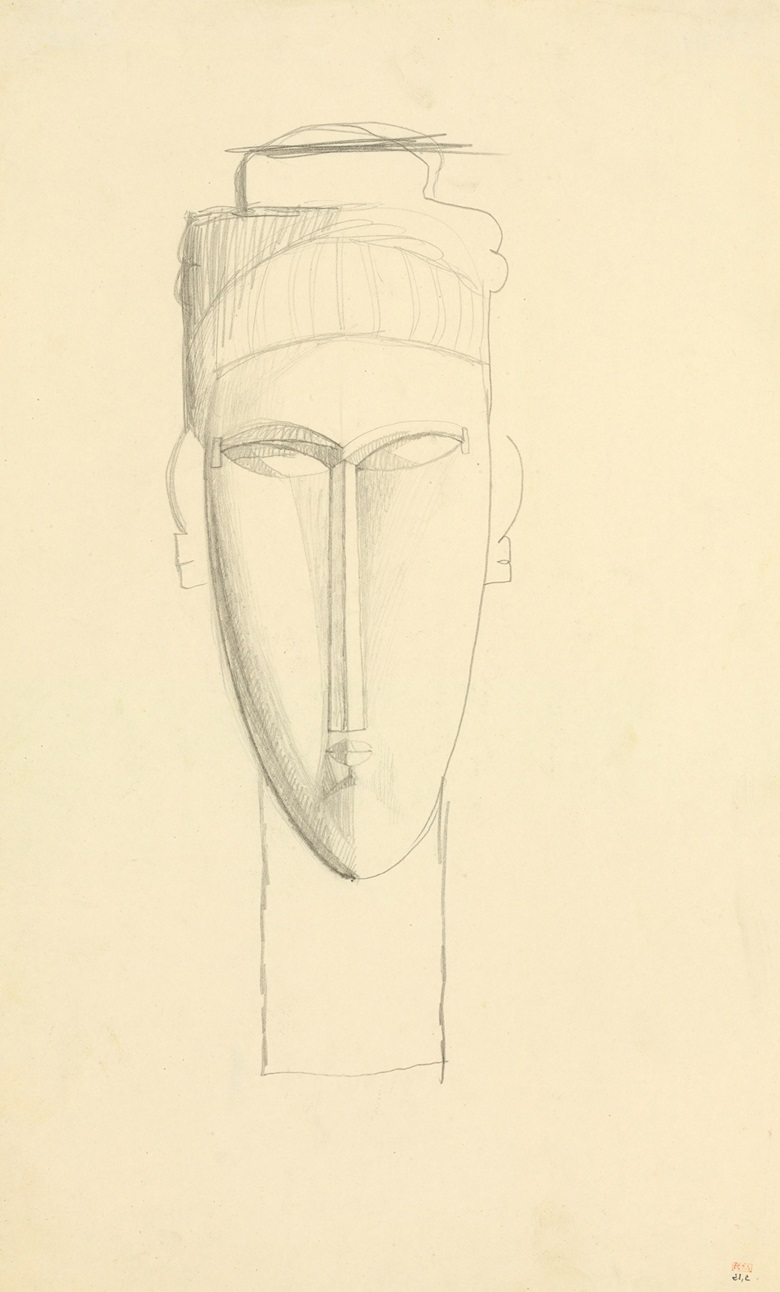 Amedeo Modigliani (1884-1920), Tête de cariatide, 1910-1911. Pencil on paper. 16¾ x 10⅜ in (42.6 x 26.3 cm). Sold for $1,565,000 on 13 May 2016 at Christie's in New York