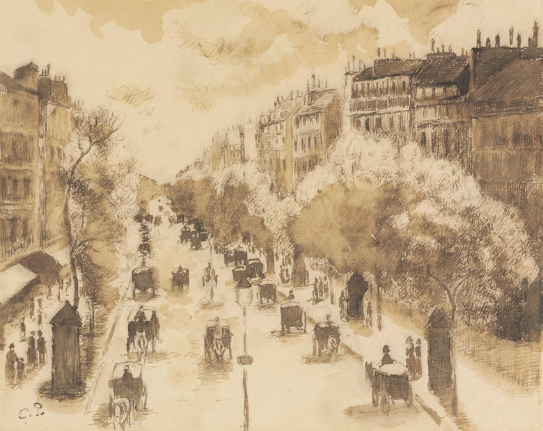 Camille Pissarro (1830-1903), Fiacres sur le Boulevard Montmartre, 1897. Brush and sepia wash and pen and black ink on paper. 7⅛ x 9 in (18.2 x 23 cm). Sold for $485,000 on 15 May 2015 at Christie's in New York