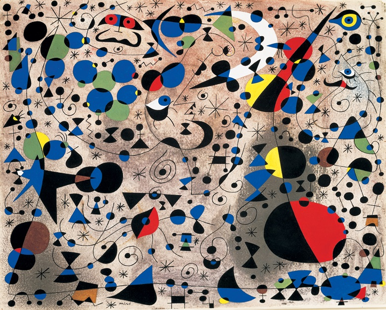 Joan Miró (1893-1983). La Poétesse, 1940. Gouache and oil wash on paper. 15 x 18 in (38 x 46 cm). Sold for $4,732,500 on 10 May 1995 at Christie's in New York