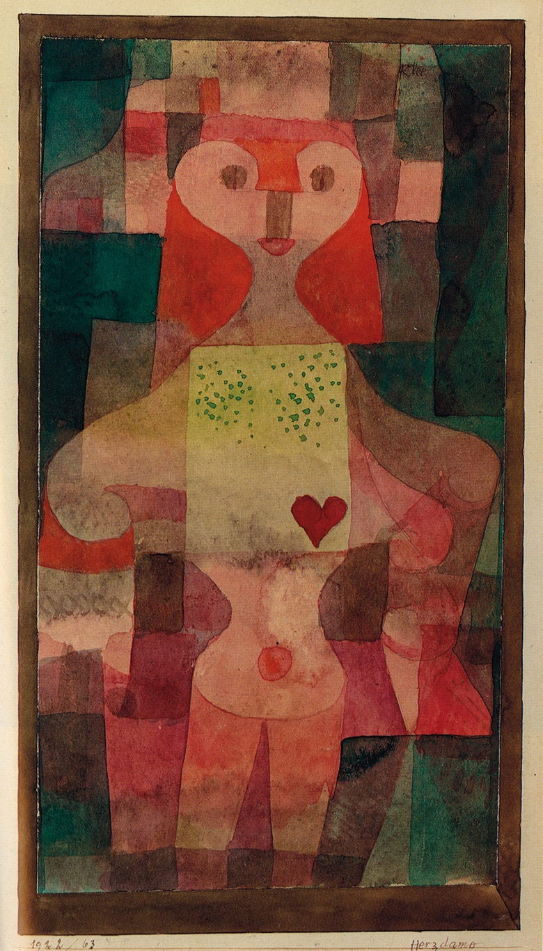Paul Klee (1879-1940), Herzdame, 1922. Watercolour on paper laid down on board. 11⅝ x 6⅜ in (30 x 16.5 cm). Sold for $140,000 on 14 November 1984 at Christie's in New York