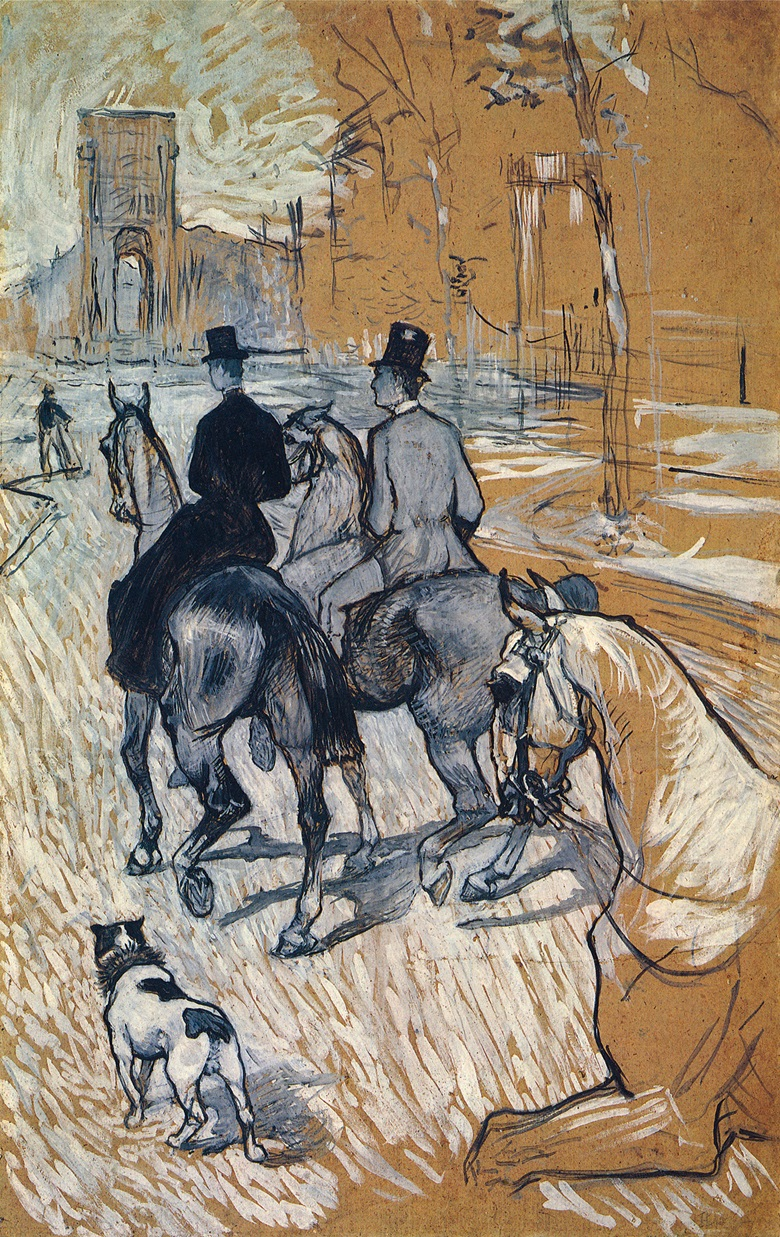 Henri de Toulouse-Lautrec (1864-1901), Cavaliers se rendant au Bois de Boulogne, 1888. Gouache on board. 33¼ x 21⅛ in (85.1 x 53.6 cm). Sold for $1,980,000 on 12 May 1992 at Christie's in New York