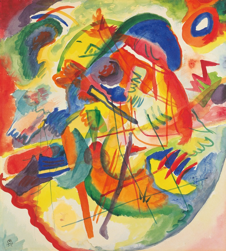 Wassily Kandinsky (1866-1944), Entwurf zu Improvisation mit rot-blauem Ring, 1913. Watercolour over pencil on paper laid down by the artist on board. 15⅝ x 14 in (40.6 x 36.8 cm). Sold for $4,533,000 on 14 May 2015 at Christie's in New York