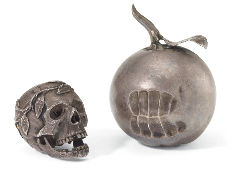 A reminder of mortality, the silver apple has the inscription 'From man came woman, from woman came sin, from sin came death'. A rare 17th-century silver pomander, 1628, silver, leather case. Estimate £12,000-18,000. Offered in The Oliver Hoare Collection on 25 October 2019 at Christie's in London