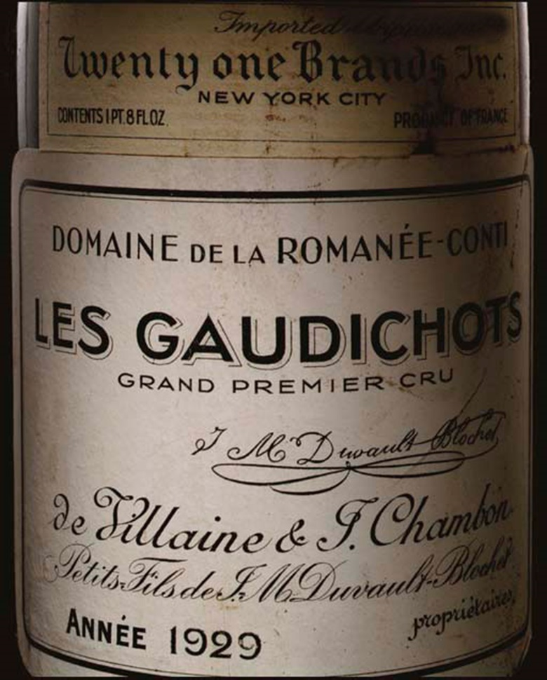 Les Gaudichots-Vintage 1929, 1 dozen bottles per lot. Sold for $88,125 on 4 June 2004 at Christie's in New York