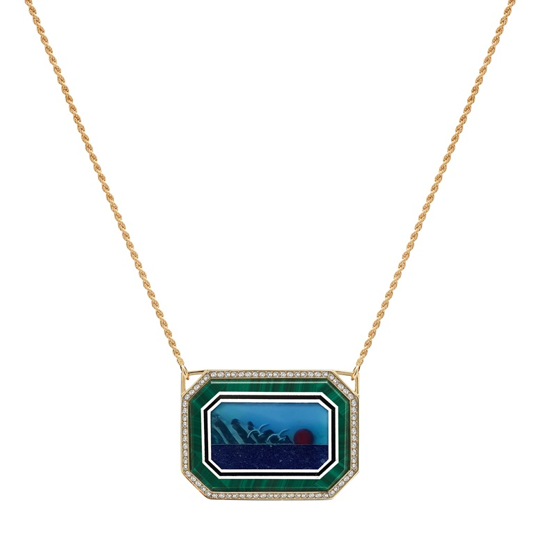 Moonscape Necklace. Set with amesthysts, tsavorites and multicolour sapphire. Height 28 mm, width 38 mm. Chain length 46 cm