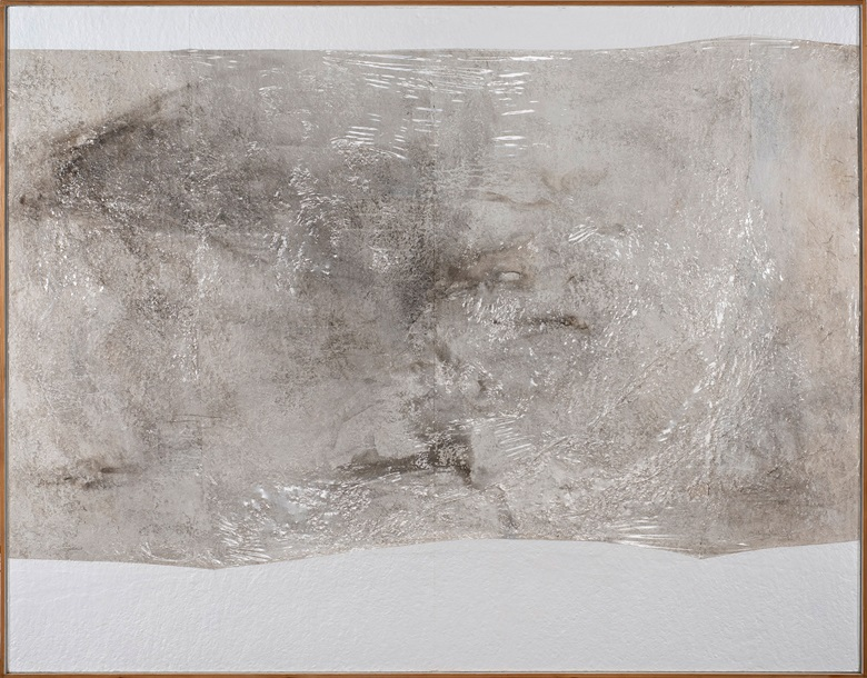 Alberto Burri (1915–1995), Bianco Plastica, 1967. Plastic, acrylic, combustion, and vinavil on cellotex. 156 x 200.5 cm. (61 3⁄8 x 78 7⁄8 in). Courtesy Dickinson