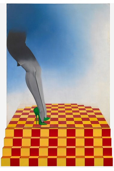 Allen Jones, You Dare, 1967. Oil on canvas plus aluminium steps with plastic tiles. Image courtesy of Hazlitt Holland-Hibbert