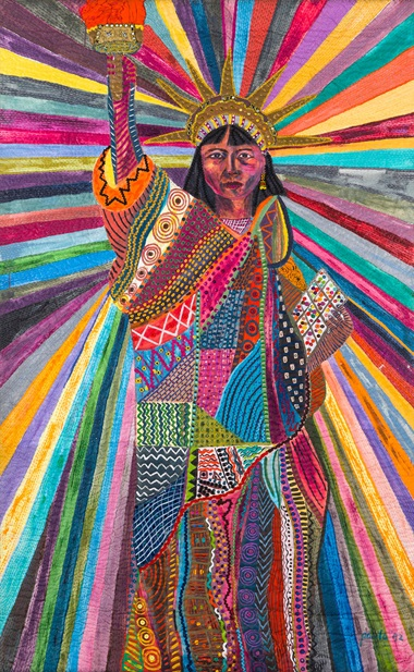 Pacita Abad, L.A. Liberty, 1992. Acrylic, cotton yarn, plastic buttons, mirrors, gold thread, painted cloth on stitched and padded canvas. 239 x 147 cm. Courtesy of Silverlens Galleries