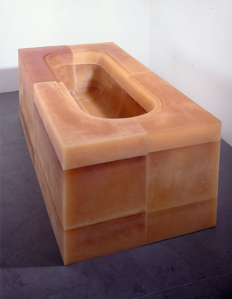 Rachel Whiteread, Untitled (Orange Bath), 1996. Rubber and polystyrene. 80 × 207 × 110 cm. Courtesy of © Rachel Whiteread; Courtesy of the artist, Luhring Augustine, New York, Lorcan O'Neill, Rome, and Gagosian Gallery