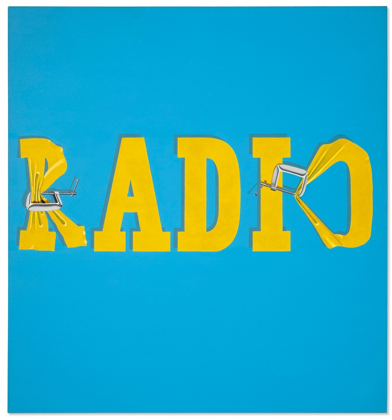 Ed Ruscha (b. 1937), Hurting the Word Radio #2, 1964. Oil on canvas. 59 x 55 in (149.9 x 139.7 cm). Sold for $52,485,000 on 13 November at Christie's in New York. © Ed Ruscha