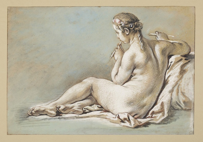 François Boucher (Paris 1703-1770), A nude woman playing a flute, seen from behind. Black, red and white chalk with pastel on blue paper. Size 9½ x 14 in (24 x 36 cm). Sold for $37,500 in Old Master and British Drawings on 28 January at Christie's in New York