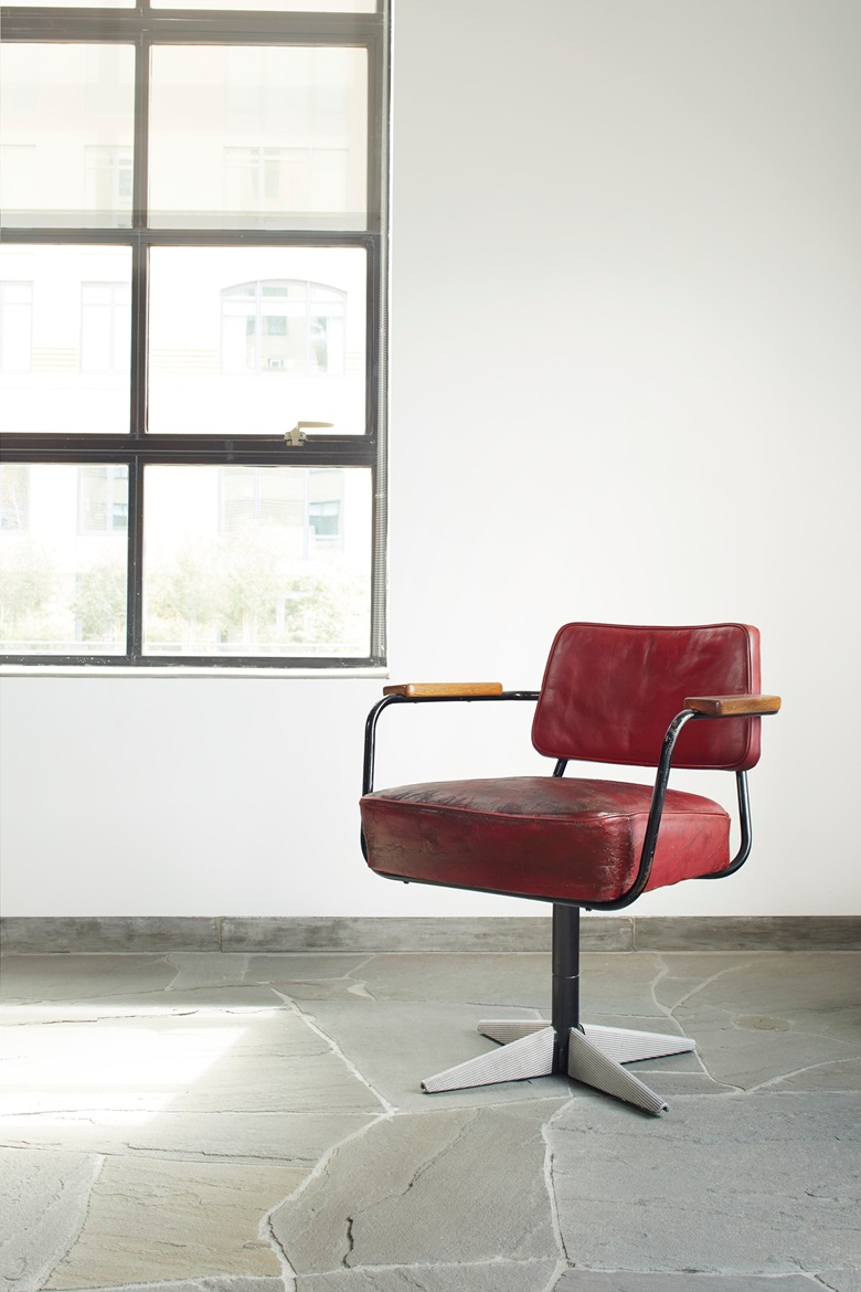 Jean Prouvé (1901-1984) 'Direction' model no.353 Swivel Chair, circa 1951. Painted steel, diamond point sheet aluminium, original leather upholstery, oak. 28¾ in (73 cm) high; 26½ in (67.3 cm) wide; 24½ in (62.2 cm) deep. Estimate $50,000-70,000. Offered in Design on 13 December at Christie's in New York.