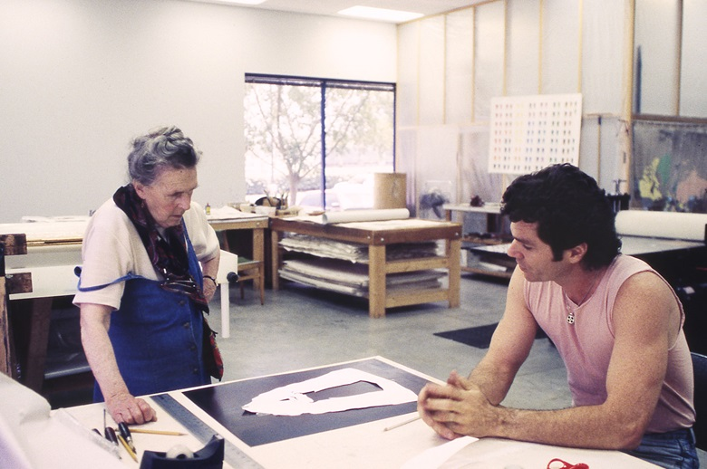 Artist Leonora Carrington and printer Mark Callen discuss the development of Carrington's The Memory Tower at USF Graphicstudio, May 1995. Photo courtesy of USF Graphicstudio, © 1995. All Rights Reserved. Credit Will Lytch
