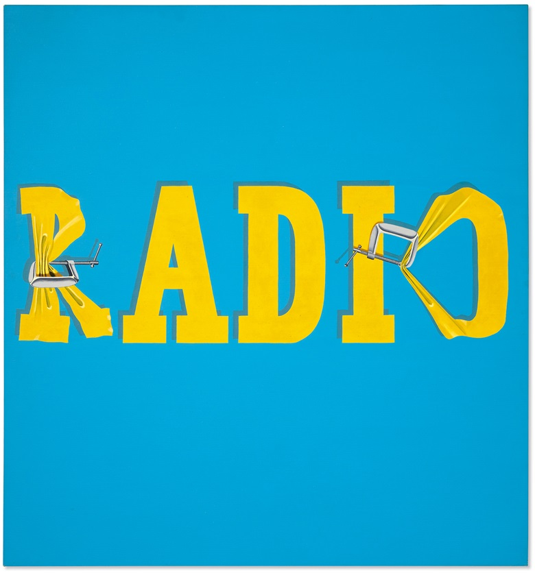 Ed Ruscha (b. 1937), Hurting the Word Radio #2, 1964. Oil on canvas. 59 x 55 in (149.9 x 139.7 cm). Estimate $30,000,000-40,000,000. Offered in the Post-War and Contemporary Art Evening Sale on 13 November 2019 at Christie's New York